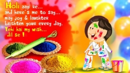 Holi aayi re.. and here's me to say.. may joy and laughter brighten your every day. yehi hai my wish dil se! , happy holi,colorful holi,holi festival,holi wishes,holi greetings
