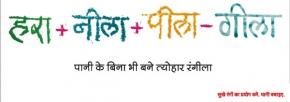 hara nila pila-gila pani ke bina bhi bane tyonhar rangila , colourful holi