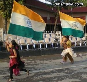 Happy Independence Day Children Running With Indian Flag Independence Day