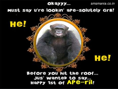 Okayyy.... Must Say U're Lookin' Ape-solutely Gr8! He! He! Before You Hit The Roof Jus' Wanted To Say... Happy 1st Of Ape-ril!April Fool Images