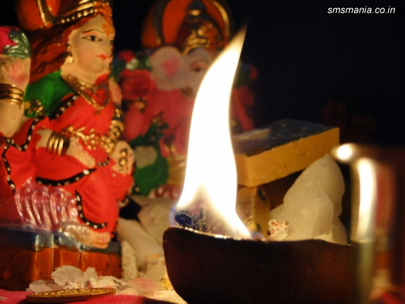 Colorful Lights With Goddess LaxmiDiwali