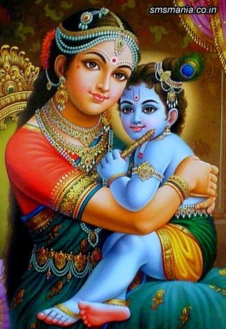 Lord Krishna In Lap Of YasodaKrishna Janmasthami